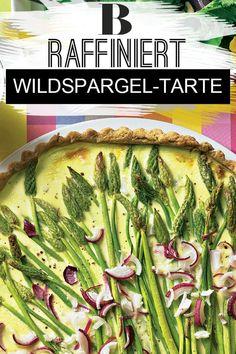 Spargel-Tarte mit Wildkräutersalat. Wildspargel wird bei uns immer populärer – intensive Noten von süßlich über pikant bis leicht bitter kitzeln die Zunge schön. Dazu gibt es eine leckere Spargel-Tarte. #spargel #tarte #vegetarisch #salat Quiche, Kraut, Healthy Recipes, Healthy Food, Zucchini, Vegetables, Tricks, Blog, Hollandaise Sauce Recipes
