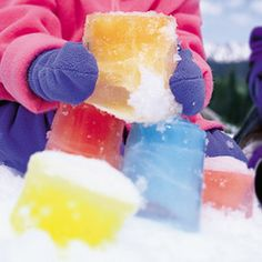 Build your own ice castles with colored ice! Just need water, containers, food coloring and freezing temps!