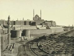 Cairo - A rare picture of the Saladin Castle in the nineteenth century Aujr