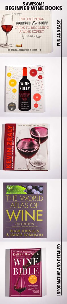 http://winefolly.com/update/best-beginner-wine-books-for-2016/?utm_content=bufferced4f&utm_medium=social&utm_source=pinterest.com&utm_campaign=buffer  5 Amazing wine books for beginners.