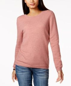 Charter Club Petite Cashmere Sweater, Created for Macy's - Ivory/Cream P/XL