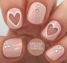 Valentine's Day Nail Art-Blush with clear hearts and stones.