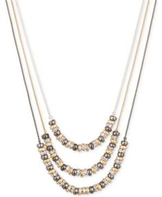Nine West Three Row Beaded Layer Necklace