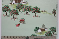 1940s Vintage Wallpaper Apple Orchard Barn Rolling Hills Horse