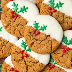 Take your typical gingerbread cookies up a notch by dipping them into a little bit of white chocolate.