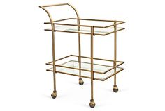 We love everything about this gold bar cart!  One Kings Lane - The Starter Space - Genevive Bar Cart, Gold