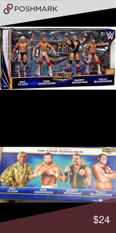 The Four Horsemen Hall of Fame WWE Elite 4 pack Brand New - Elite Style Figures feature added articulation! Collect all of your favorite WWE Superstars! Comes with Ric Flair, Arn Anderson, Barry Windham & Tully Blanchard! Other