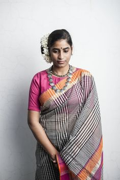 Indian Cotton-silk Saree by Ecoloom #Maheshwari #Sari #Maheshwar #MaRewa #Craft #Handwoven