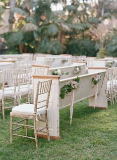 Gorge dahling!  White washed chairs and pews, yes please. Your religious family members will forgive you for not having the traditional ceremony at your place of worship once they sit in this beautiful ceremony layout.  Designed perfect, simple yet sophisticated and chic, it's the little details that make this a scene stealer.  PHOTO @elizabethmessina