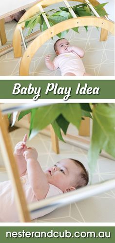 Baby Gym Nature sensory play idea with leaves. Idea for baby gym sensory stimulation for baby. Baby gym from Nester and Cub. Sensory Games, Baby Sensory, Sensory Play, Childrens Gym, Natural Nursery, Sensory Stimulation, Play Gym, Baby Play, Infant Play
