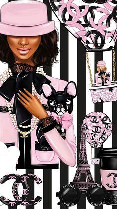 Black Girl Art, Black Women Art, Black Girl Magic, Art Girl, Chanel Wallpapers, Makeup Wallpapers, Cute Wallpapers, Desktop Wallpapers, Black Is Beautiful