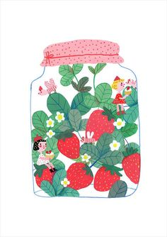 """"""" Strawberry jam """" this is a print of my illustration , printed on inches - cm.Thanks for the visit,Be Happy Every day! Fruit Illustration, Fantasy Illustration, Amazing Drawings, Amazing Art, Strawberry Art, Posca Art, Wall Collage, Boho, Art Inspo"""