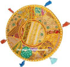 "22"" Patchwork Indian Vintage Cotton Round Embroidered Floor Pillow Cushion Cover #Handmade #ArtsCrafts"