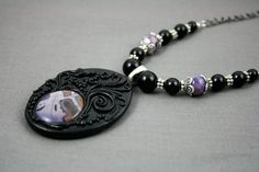 Tiffany Stone Necklace - Polymer Clay - Handmade - Obsidian, Onyx - Charoite - Purple - Gothic Necklace - Healing Stones - Stone necklace