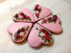 Pink Valentine Hearts with Cascading Roses:  Reminiscent of Boxes filled with Chocolates