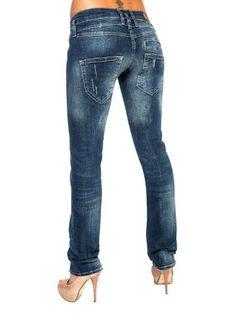 LOST IN PARADISE Alice Star Dark Vintage Destroyed washed Denim - Jeans Damen Normal / Slim - Frühling Sommer, Hosen Größen:W 25 / L 34: Amazon.de: Bekleidung