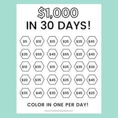 Saving Money Chart, Money Saving Challenge, Money Saving Tips, 30 Day Challenge, Money Tips, Saving Ideas, Saving Money Quotes, Savings Planner, Money Planner