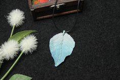 Blue leaf necklace elven leaf pendant fairy necklace gift