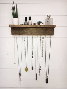 Wall mount jewelry organizer, necklace holder with shelf - wall mount jewelry . - Wall mount jewelry organizer, necklace holder with shelf – Wall mount jewelry organizer, necklace - Wall Organization, Jewelry Organization, Jewellery Storage, Jewellery Display, Necklace Hanger, Diy Necklace Holder, Pearl Necklace, Jewelry Hanger, Wall Mount Jewelry Organizer