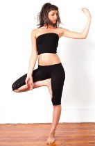 Stretch Knit Yoga & Dance Capri Low Rise Tights & Matching Rib Length Tube Top by KD dance, Sexy, Fashionable & Super Stretch Knit Comfortable, Yoga, Dance, Zumba, Resort Wear Chic, Made In New York City USA