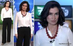 Look da Renata Vasconcellos no Fantástico dia 27 de julho