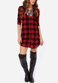 Plaid Flannel Tunic Shirt #womensfashion