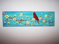 Folk Art Cardinal Bird Branch and Flowers Painting One of