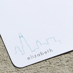 Meant to be: Personalized Stationery Chicago Skyline -  Set of 8 Notecards. .