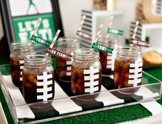 6 Winning Ways to Kick Off the NFL Season | Dress up mason jars and layer them onto a clear acrylic tray as a fun way to serve beverages for kids and adults alike.