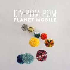 This week on Makers, I'm going to show you how to make your very own Pom-pom Planet Mobile AKA the Solar System in wool! Difficulty: Medium You will need… Crafts For Seniors, Crafts For Kids, Mobiles, Planet Mobile, Craft Stick Crafts, Diy Crafts, Craft Ideas, Pom Pom Mobile, Solar System Crafts