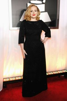 Adele - Grammys 2012 Red Carpet: Photo Adele sparkles at the 2012 Grammy Awards held at Staples Center on Sunday (February in Los Angeles. The multi-nominated singer wore a custom black Giorgio… Celebrity Red Carpet, Celebrity Style, Celebrity Dresses, Celebrity Photos, Adele Grammys, Armani Gowns, Armani Hair, Grammy Red Carpet, Adele Adkins