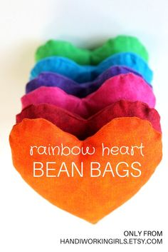 Our brightly-colored rainbow heart bean bags make fun teaching tools for preschool or kindergarten classes: https://www.etsy.com/handiworkingirls/listing/157835152/rainbow-heart-shaped-bean-bags-lime