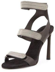 Brunello Cucinelli Monili Triple-Strap High-Heel Sandal, Onyx