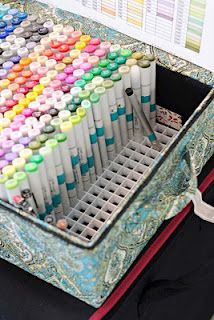 storing Copic markers using a ceiling lighting tile
