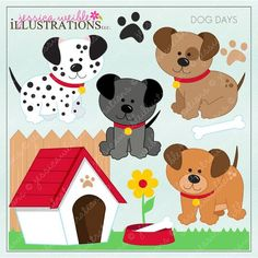 Dog Days Clipart graphics are adorable.  Create invitations and other craft projects with these cute dogs, paw prints, dog house and dog accessories.