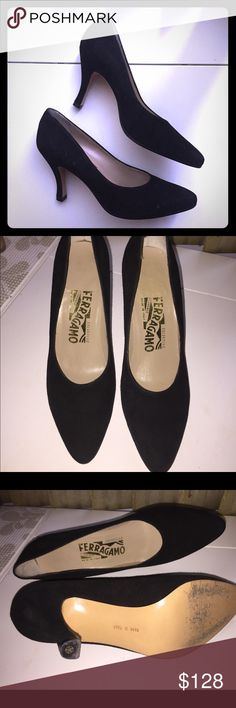 💯 Authentic Ferragamo suede pumps Salvatore Ferragamo black suede leather pumps. These are classic that can be worn with any outfit!  Worn only handful of times or less. Great condition and very minor signs of wear such as tiny scratches which aren't visible unless closely examined. Size 6B . Heel height 3.25 inches, very comfortable to wear. ❌no trades❌ Salvatore Ferragamo Shoes