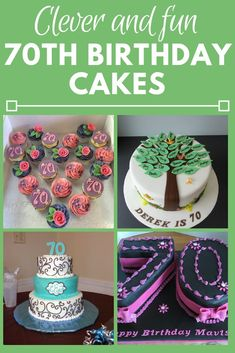 Birthday Cake Ideas - Looking for cute birthday cake ideas for a man or woman turning Be inspired by these creative birthday cakes - both homemade and professionally decorated. 70th Birthday Cake For Women, 70th Birthday Party Ideas For Mom, 70th Birthday Decorations, Brithday Cake, 90th Birthday Cakes, Creative Birthday Cakes, Homemade Birthday Cakes, 70th Birthday Parties, 75th Birthday