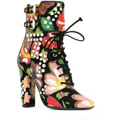 Giuseppe Zanotti Design 'Brenda' boots featuring polyvore, women's fashion, shoes, boots, leather lace up boots, lace up boots, floral print shoes, leather buckle boots and block heel boots