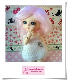 White pretty doll dress  for Lati Yellow by tatadelacasa on Etsy, $14.00
