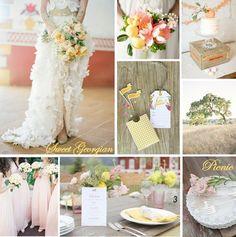 Sweet Georgian Picnic: Blush, Lemon, Sage Vintage Wedding Inspiration  #DIY #Pink #Yellow #Green