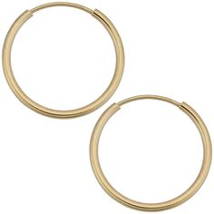 14k Yellow Gold 1mm Thick Round Tube Endless Hoop Earrings (10, 12, 14, 16 or 18 mm) ** Want additional info? Click on the image. (This is an affiliate link) #Jewelry