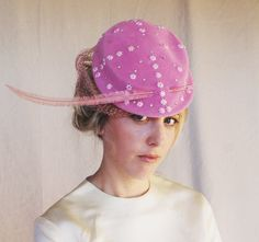 Vintage Pink Feather Hat by Parmillo New York by MovieStarMoon, $75.00