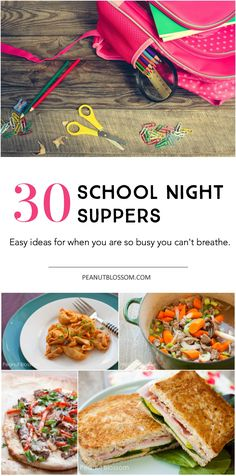 30 days of school night supper ideas: What to cook when you're so busy you can't find time to breathe. Love these REAL suggestions from a soccer mom just trying to feed her family.