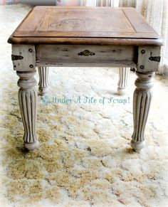 Pretty stencil and antique hinge distressed end table or night stand. it was a DIY project but no details on the destressing or painting