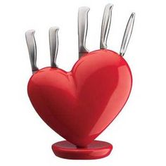 Red Heart Knife Block