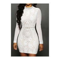 Rotita Long Sleeve White High Neck Bodycon Dress (39 CAD) ❤ liked on Polyvore featuring dresses, white, white dress, white body con dress, white mini dress, bodycon dress and sheath dress