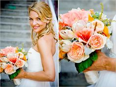 peach and pink bridal bouquet by Jennifer Cole Florals