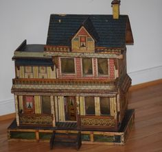 Antique Dollhouse Bliss Large Doll House For Miniatures Blue Roof Litho & Wood