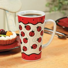 Ladybug Java Mug. Our ceramic ladybug coffee mug is a great pick-me-up! You'll want one for the kitchen and one at the office. Pottery Painting, Ceramic Painting, Painted Pottery, Ladybug Crafts, Class Decoration, Cute Mugs, Oriental Trading, Home Decor Online, Safe Food