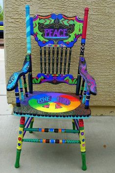 Painted Rocking Chairs, Hand Painted Chairs, Whimsical Painted Furniture, Hand Painted Furniture, Recycled Furniture, Colorful Furniture, Paint Furniture, Cool Furniture, Furniture Ideas